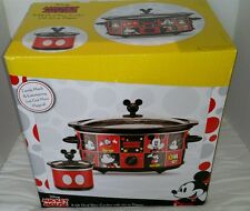 Disney Mickey Mouse 5 QT Slow Cooker crock pot+ Dipper Pot HARD TO FIND NIB