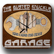 BUSTED KNUCKLE GARAGE VINTAGE RETRO WORKSHOP MAN CAVE METAL TIN SIGN WALL CLOCK