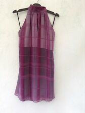LADIES LINED SLEEVELESS HIGH NECK DRESS/TOP SZE XS FRM SINGLE MULTI CHECK DESIGN