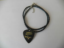 "YNGWIE J MALMSTEN Guitar Pick signature stamped leather braid 18"" NECKLACE"