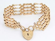 Gate Bracelet 9ct Gold Heart Locket Clasp Ladies Vintage A99