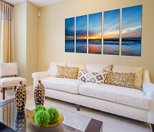 Canvas Prints On Beach, Seascape Canvas Designs, 5 Panel Prints Sunset Wall Art
