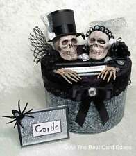 Gothic Skull Wedding Card Box,Halloween,Black,Handmade,Cake,Fabric,Card Box