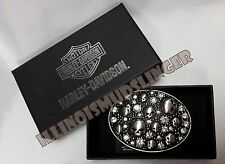 Harley Davidson Womens Chrome Willie G Skulls & Crystals  Belt Buckle  #10273
