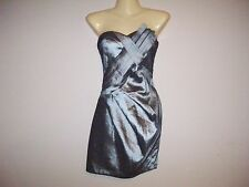 Daisy Womens Size S Solid Gray Shimmer Strapless Mini Wiggle Dress