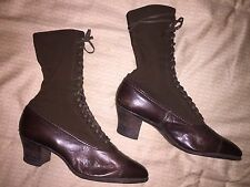 womens Model Boot Shop antique victorian brown leather lace boots