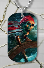 SKELETON SCARY PIRATE IN STORM DOG TAG PENDANT NECKLACE FREE CHAIN -pfc4Z