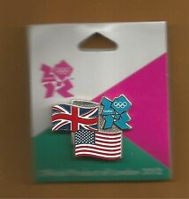 London & USA ~ Olympics 2012 ~ Dueling Flags ~ Vintange Licensed Lapel Pin