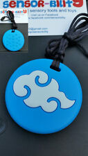 oral sensory silicone chew necklaces, autism, teething blue