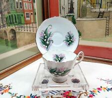 """VINTAGE SALISBURY ENGLAND LILY OF THE VALLEY 3 1/4"""" FOOTED CUP AND SAUCER SET"""