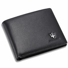 Maserati Bifold Black Wallet Genuine Leather with 6 Credit Card ID Case Men Gift