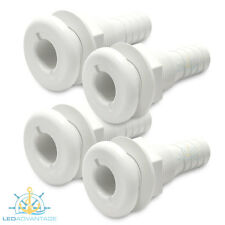 4 X 25/28MM DUAL NYLON SKIN FITTINGS - BOAT/LIVEBAIT/ WATER/OUTLET/INLET VALVE