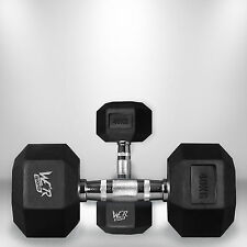 40kg Hex Dumbbell Set Rubber Encased Ergo Weights Hexagonal Dumbbell Gym Weight