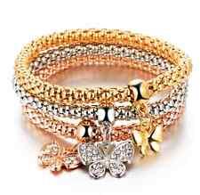 3Pcs/set Rhinestone Charm Butterfly Bracelet