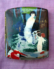Enamelled cigarette case Cupid and naked lady 1930s, average condition