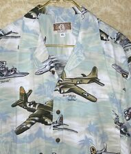 Men's Kalaheo WW2 Fighter Planes Bombers Cotton Rayon Hawaiian Shirt XL