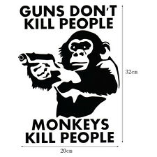 "Black Car Sticker ""GUNS DON'T KILL PEOPLE MONKEYS"" PVC  Decal Car Window Bumper"