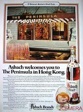 1980 ASBACH URALT Brandy Advert 'Peninsula Hotel, Hong Kong' - Original Print AD