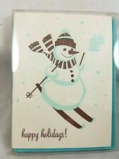 SKIING SNOWMAN Letterpress Christmas Cards with envelopes Box of 6 new