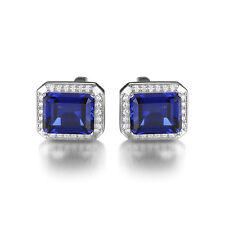 Jewelrypalace Men Created Blue Sapphire Wedding Cufflinks 925 Sterling Silver