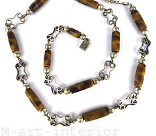 TAXCO Mexico Collier Sterling Silber Tigerauge BoHo Tiger´s Eye Necklace vintage