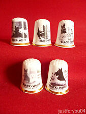Set of 5 Black & White Whisky (Gold Gilded) Collectors Thimbles