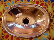 Copper very small Moroccan hand hammered plain oval sink wash basin