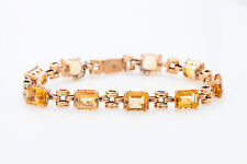 Antique Retro 30ct Natural Emerald Cut Citrine 14k Yellow Rose Gold Bracelet 18g