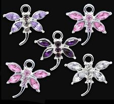 10 Mix Colour Rhinestone Dragonfly Charm Pendant 20 x 19mm Jewellery Making
