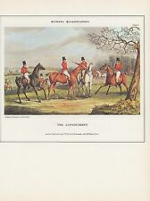 """1974 Vintage HUNTING """"QUALIFICATIONS APPOINTMENT (THE MEET) COLOR Art Lithograph"""