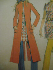 Vintage McCalls 2707 LONG RETRO COAT STAND-UP COLLAR Sewing Pattern Women Sz 10
