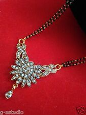 22k gold plated  black oxdize mangalsutra with balck beads double  chian