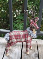 Red Plaid REINDEER Deer*Primitive/French Country Farmhouse Cabin Christmas Decor