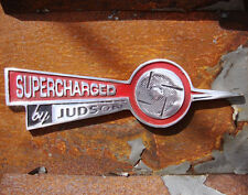 SUPERCHARGED by JUDSON Sign BLACK RED POLISH cast aluminium advert vintage VAC29