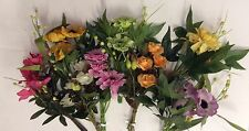 12 New Mini Bunches Assorted Artifical Silk Flowers Floral Picks Bargain Lot