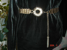 Vintage Starburst With Chain & Tassel Gold Tone Metal Wide Womans Belt HONG KONG
