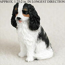 Cavalier King Charles Mini Resin Dog Figurine Statue Hand Painted Black/White