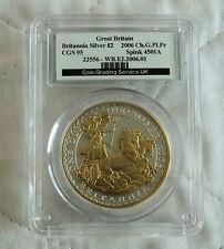2006 2 £ BRITANNIA silueta de oro 1oz plata prueba destrozado CGS 95