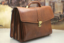 VALENTINA IN PELL Italy Vintage Leather Executive CEO Briefcase Attache Bag Mens