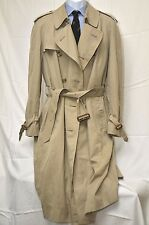 BURBERRYS' PRORSUM KHAKI TAN DOUBLE BREASTED BELTED TRENCH COAT SZ 42R EUC