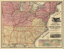 24x36 Vintage Reproduction Civil War Magnus's county map of the USA 1862