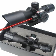 New Tactical 2.5-10x40 Rifle Scope Mil-dot Dual illuminated w/ Red Laser Mount