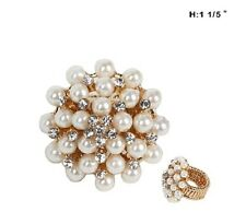 "1 1/5"" Gold Tone Round Cream Pearl and Rhinestone Stretch Ring"