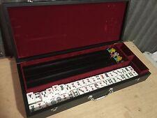 vtg NICE mahjong Mah Jongg Set 160 Tiles 4 wood Racks NICE wooden Case mahjong
