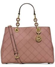 New Michael Kors Cynthia Medium Cross Stitch leather  Satchel Dusty Rose gold