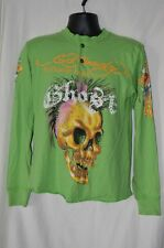 Ed Hardy Mens Small Green Long Sleeve Shirt Bling 1/4 Button Skull Christian A.