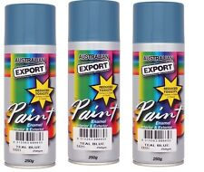 3 x Australian Export Spray Paint Cans 250gm Teal Blue 100% Brand New
