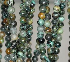 """6MM AFRICAN TURQUOISE GEMSTONE GREEN BROWN ROUND 6MM LOOSE BEADS 16"""""""