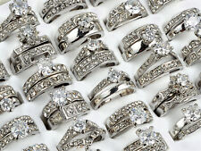 5PCS/Lot Women Silver Stainless Steel Ring Wholesale Bulk Lots Crystal Jewelry