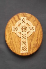 Welsh  Oval Wooden Plaque O6 by Pageant Wood Products :Celtic Cross